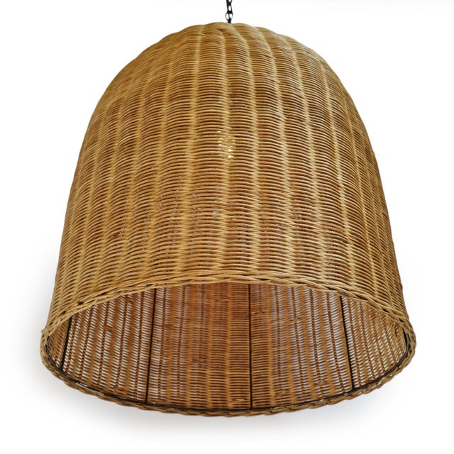 Contemporary Tea Stain Wicker Dome Lantern For Sale - Image 3 of 6