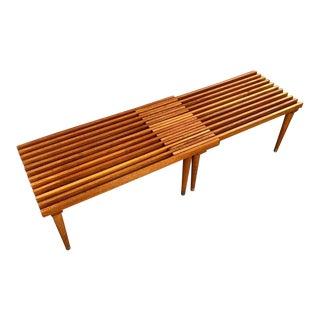 Mid-Century Modern Expanding Teak Slat Bench For Sale