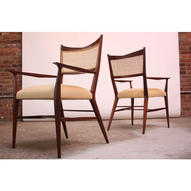 1950s Set of Eight Stained Mahogany and Cane Directional Dining Chairs by Paul McCobb For Sale - Image 5 of 13
