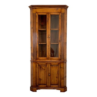 Englishman's Golden Oak Finish Chippendale Corner Cabinet For Sale