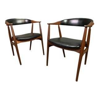 Pair of Vintage Mid Century Modern Danish Teak Dining Chairs #213 by T. Harlev for Farstrup For Sale