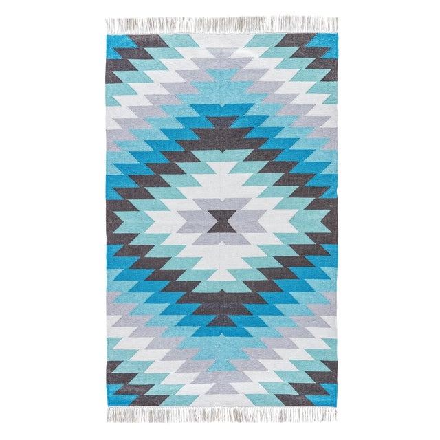 Jaipur Living Mojave Indoor/ Outdoor Geometric Aqua/ Gray Area Rug - 2′ × 3′ For Sale