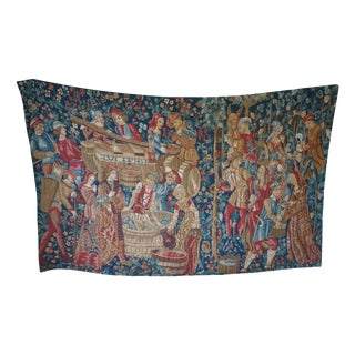 Vintage Italian Wine Making Scene Tapestry