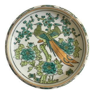 1970s Hand Painted Japanese Green and Gold Imari Peacock Catchall Bowl For Sale