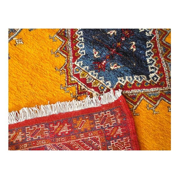 One-of-a-kind Moroccan rug handwoven with low wool pile by the Berbers of the Atlas Mountains. Featuring a complex diamond...