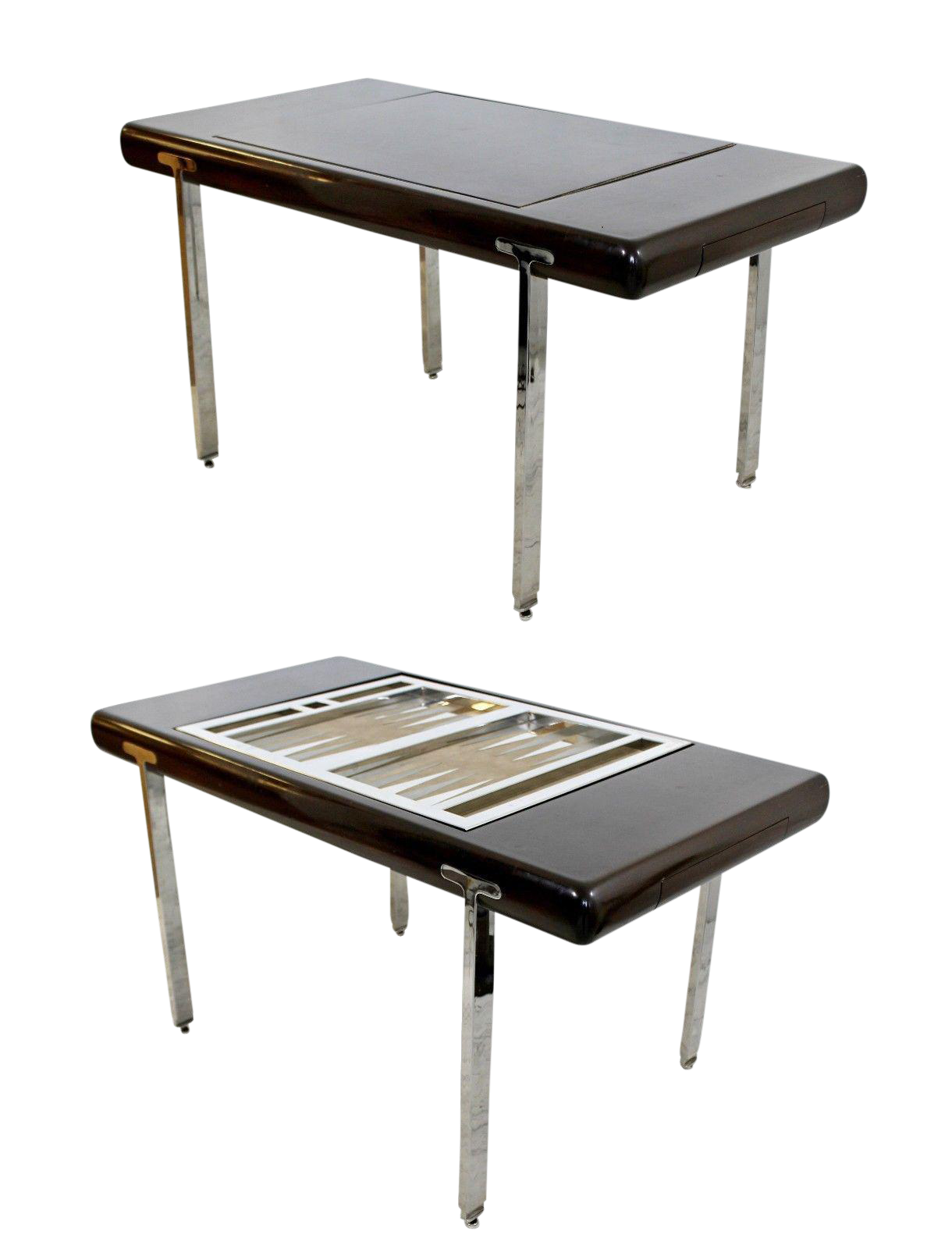 Mid Century Modern Chrome U0026 Wood Desk Backgammon Game Table 1970s Pace  Brueton   Image 1