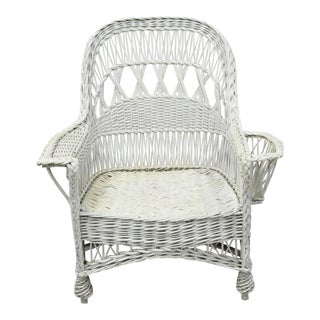 Vintage Wicker Victorian Sunroom Lounge Arm Chair With Magazine Rack Holder For Sale