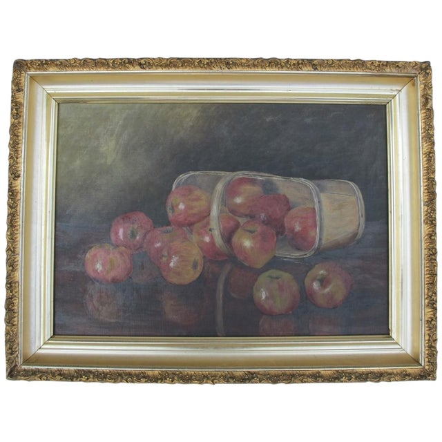 """""""Basket of Apples"""", Oil Painting on Canvas - Image 1 of 8"""