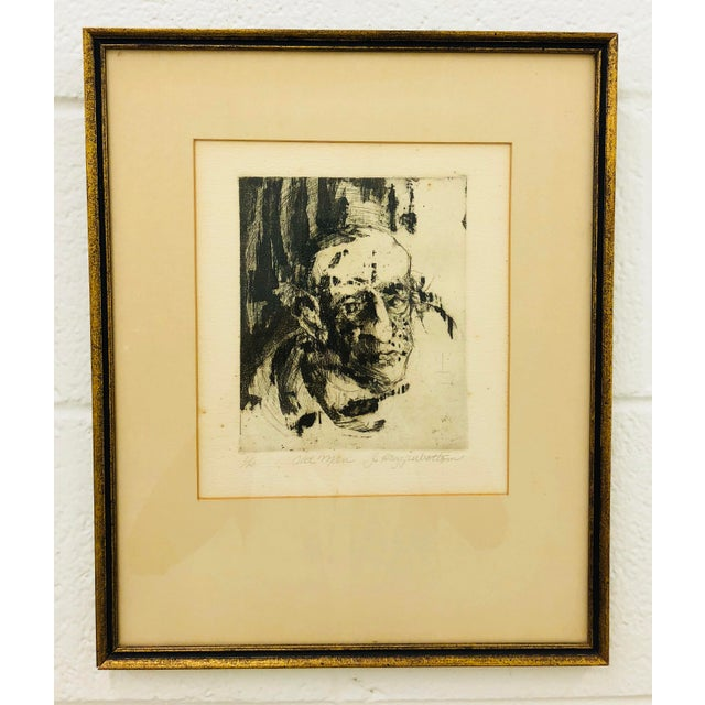 Abstract Original Vintage Block Prints in Frame - A Pair For Sale - Image 3 of 9