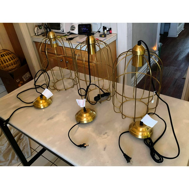 Brass Brass Caged Dome Pendant Lights by Kalalou For Sale - Image 8 of 13
