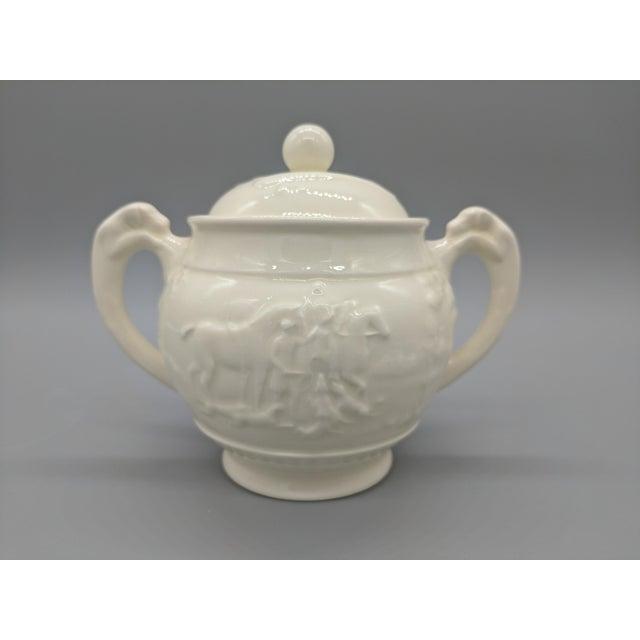 Vintage English Wedgewood Ivory Tea Set - Set of 3 - Horse and Dog Motif For Sale - Image 9 of 11