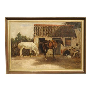 19th Century Oil Painting of Horses Near the Stables For Sale