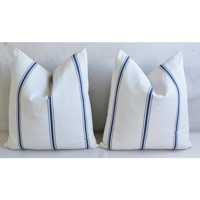 """French Blue/Gray/Tan/White Striped Ticking Feather/Down Pillows 23"""" Square - Pair For Sale In Los Angeles - Image 6 of 12"""