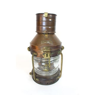 1950s Antique Anchor Shipping Lantern. Copper and Brass Oil Burning Lantern Preview