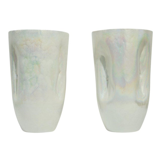 Contemporary Minimalist Iridescent Pearl White Murano Glass Vases - a Pair For Sale
