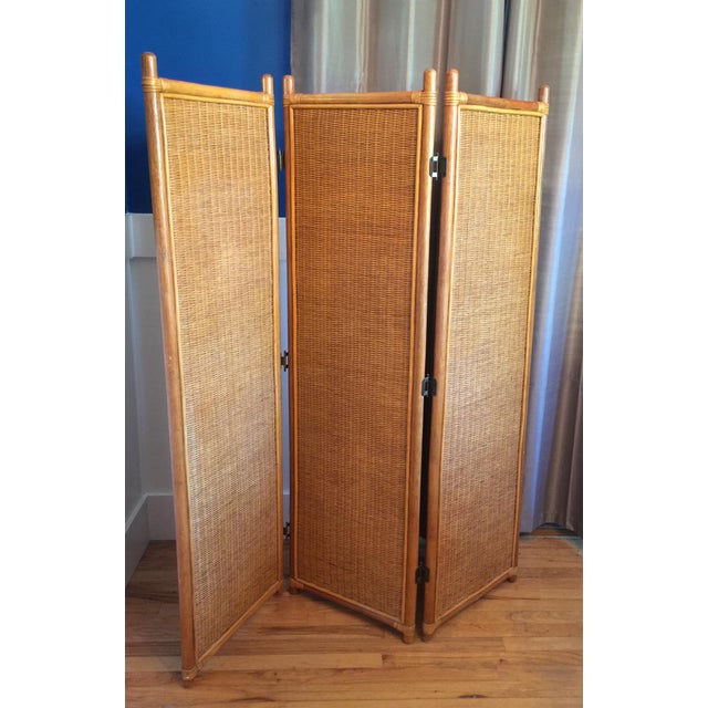Vintage Rattan Bamboo 3 Panel Folding Screen Room Divider For Sale - Image 10 of 10