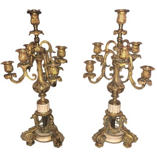Pair of 19th Century Doré Bronze 7-Light Marble Base Candelabras Mounted as Lamp For Sale