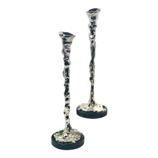 "Late 20th Century Micheal Aram ""Lava"" Silver Candlesticks with Original Bags - a Pair For Sale"