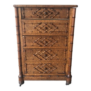 1950s Faux English Bamboo Cabinet