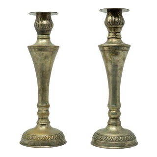 Mid 20th Century Vintage Heart Etched German Candleholders - a Pair For Sale