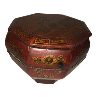 Asian Wood Octagonal Box For Sale