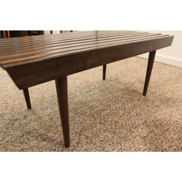 Mid Century Danish Modern Walnut Slat Bench/Coffee Table - Image 9 of 11