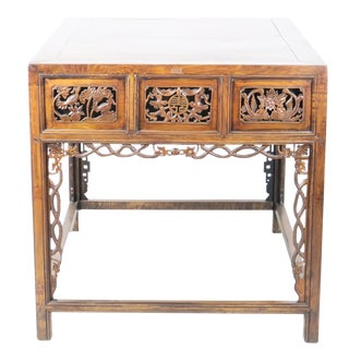 20th Century Chinese Ornately Carved Walnut 6 Drawer Foyer Table For Sale