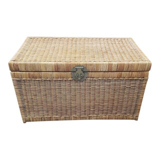Mid 20th Century Wicker Trunk With Brass Hardware C.1950s For Sale