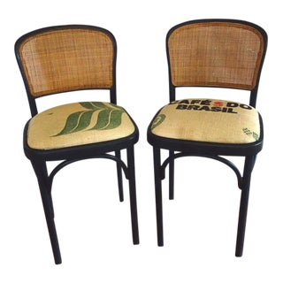 Vintage Thonet Prague Style Bar Stools - A Pair