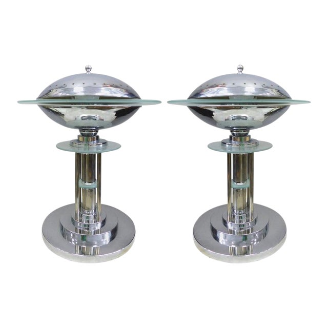 Mid-Century American Art Deco Style Chrome Lamps, Pair For Sale