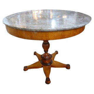 19th Century French Charles X Period Center Table With Marble Top For Sale