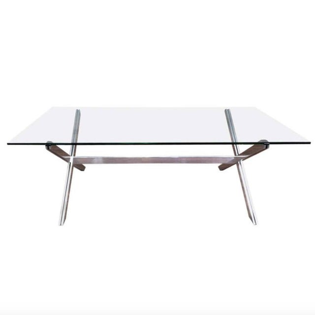 1970s Rare Large Aluminum & Glass Floating X-base Table by John Vesey For Sale - Image 5 of 5