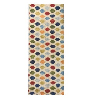 Vintage White and Multicolor Polkadot Moroccan Style Runner- 3′1″ × 9′8″ For Sale