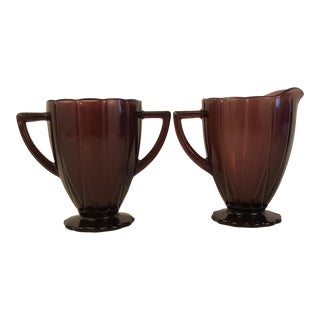 Hazel Atlas Amethyst Newport Cream and Sugar - A Pair For Sale