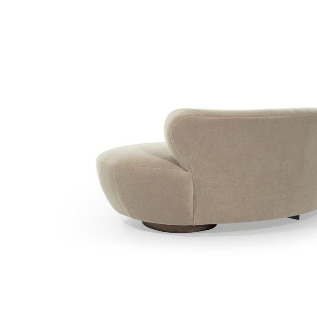 Curved Sofa on Walnut Bases by Vladimir Kagan for Directional For Sale - Image 12 of 13