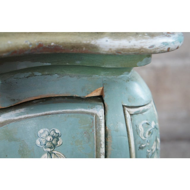 Teal 1960s John Widdicomb Wm Burkey Distressed Teal Commode For Sale - Image 8 of 13