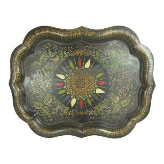 19th Century Shabby Chic Tole Painted and Stenciled Tray For Sale