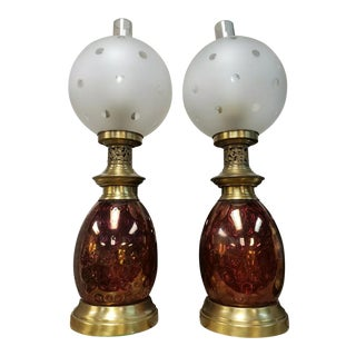 Mid 20th Century Cranberry/Frosted Glass Coin Dot Glass and Brass Hurricane Lamps - a Pair For Sale
