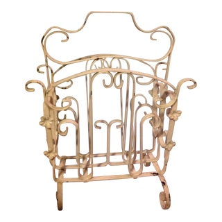 Vintage Wrought Iron Magazine Rack For Sale