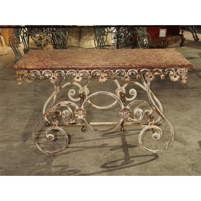 Fantastic 19th Century Iron and Bronze French Butchers Display Table With Rosso Verona Marble Top For Sale - Image 11 of 13