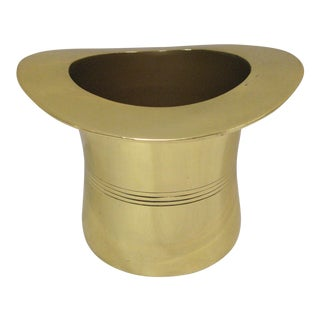Godinger Mid-Century Polished Brass Top Hat Wine Cooler For Sale