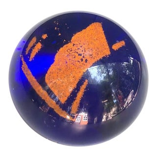 Blue & Orange Glass Paperweight For Sale