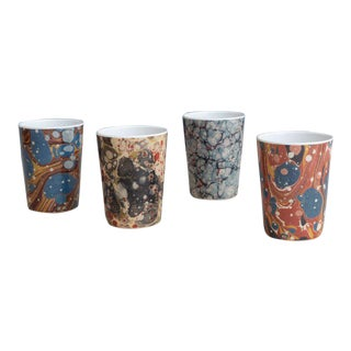 Library Marble Tumblers - Set of 4 For Sale