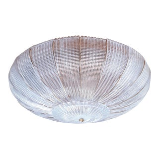 Large Mid-Century Modern Round Clear Murano Glass Flush Mount For Sale