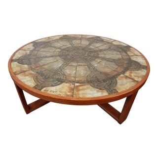1974 Mid Century Danish Modern Round Cocktail Table by Trioh With Ox-Art Ceramic Tiles