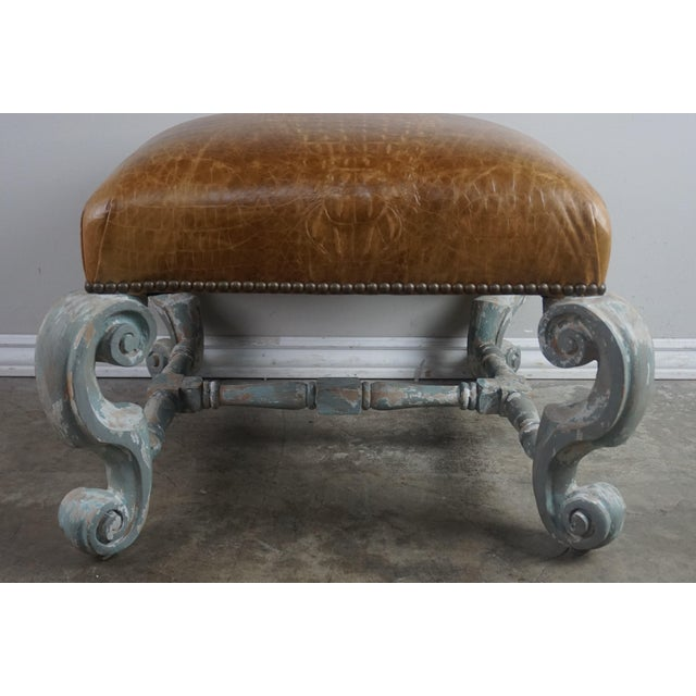 Mid 20th Century Pair of French Painted Benches With Leather Upholstery For Sale - Image 5 of 12