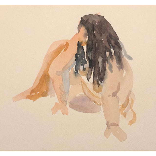 Watercolor Painting of a Seated Portly Lady by Myra Kyle, 1980s For Sale