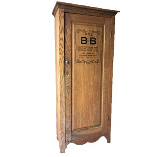 19th Century Primitive American Country Oak Single Door Cabinet For Sale