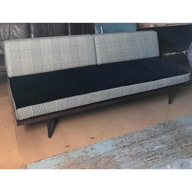 This beautifully finished sofa daybed is newly reupholstered in a Cashmere Wool Houndstooth and very fine, yet durable...