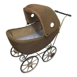 Antique Wicker Baby Buggy For Sale